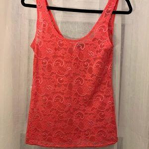 Aritzia Talula Hot Pink Lace Top- Size S